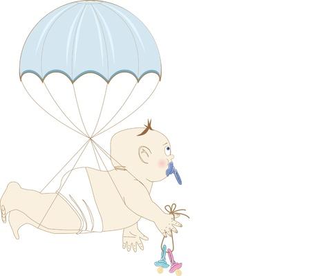 boy on a parachute