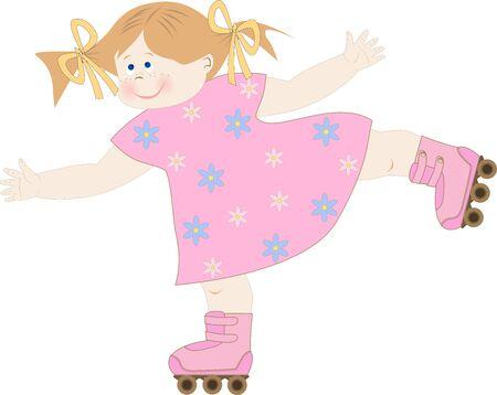 rollers: girl on roller skates Illustration