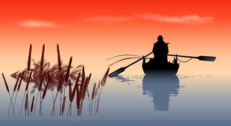 canne: pescatore Vettoriali
