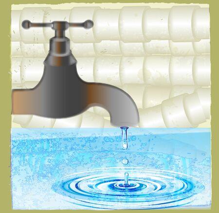 basement: old faucet Illustration