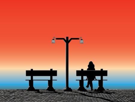 bench alone: sunset on the waterfront