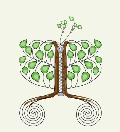 tree with sewing zipper  Illustration