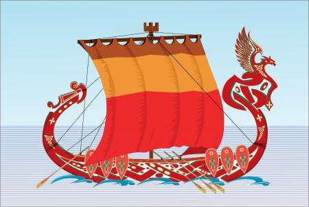 slavic: Slavic boat  Illustration