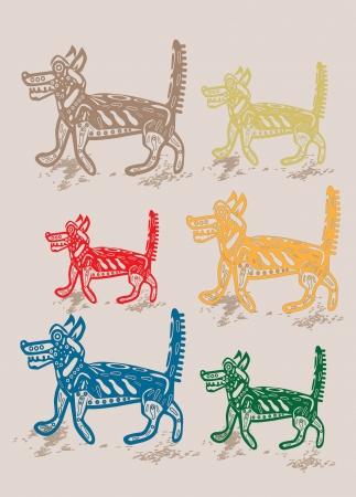 six dogs Illustration