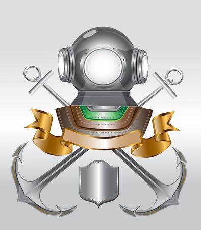 deep sea diver: marine emblem