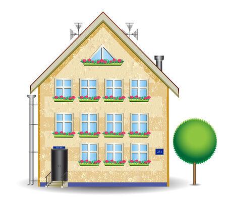 kunststoff rohr: verputzte Haus