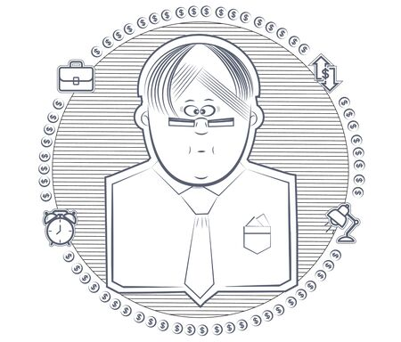 icon man with glasses surrounded by infographics Illustration