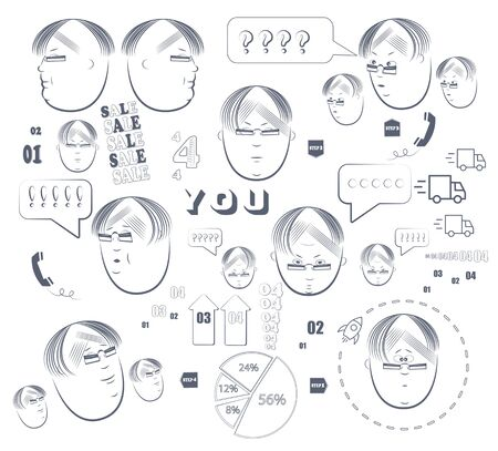 man s face with different elements of infographics