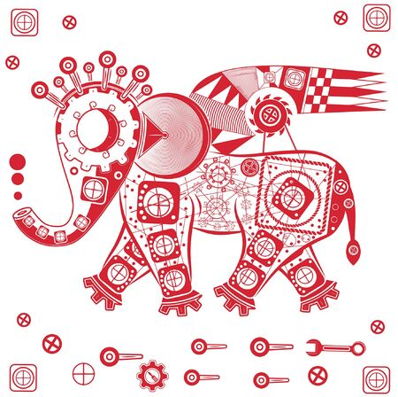 abstract figure of an elephant with geometric patterns and threads Illustration