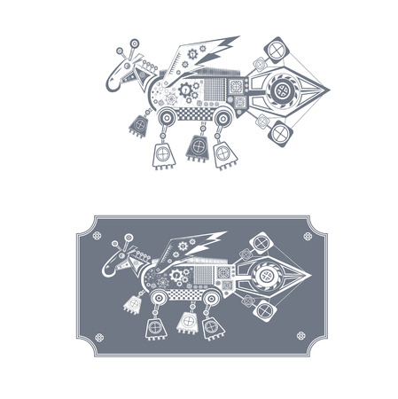 two icons mechanical horse with wings Illustration
