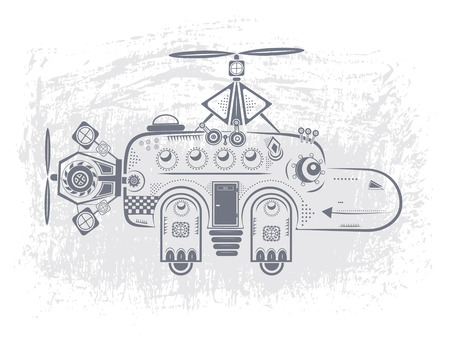 baby hippo toy helicopter with two propellers and wheels Illustration