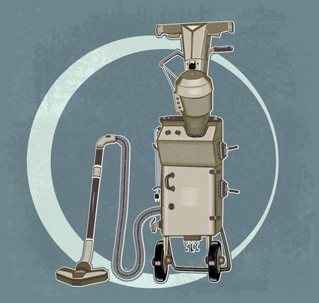 Grunge suitcase vacuum cleaner