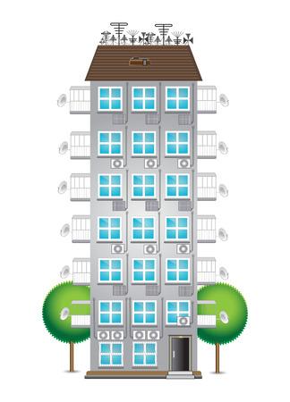 gemeentehuis met meerdere verdiepingen met antennes en airconditioners