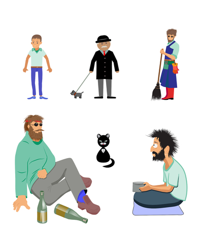 Mens figures and cat Stock Illustratie