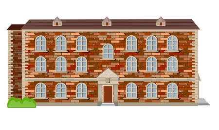 old English country house of red brick in Victorian style Illustration