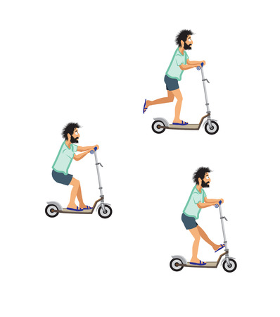 bearded man in a green T-shirt and shorts riding a scooter in different poses