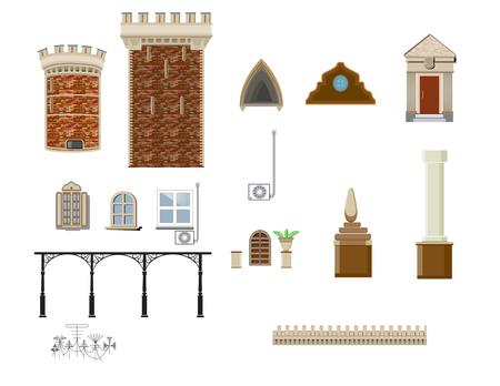 éléments et parties de l'architecture du bâtiment utilisés dans la conception des bâtiments