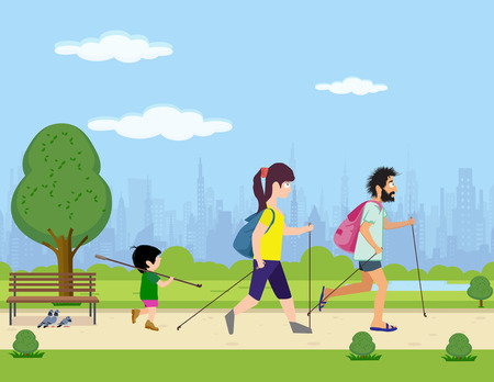 family engaged in Scandinavian walking park
