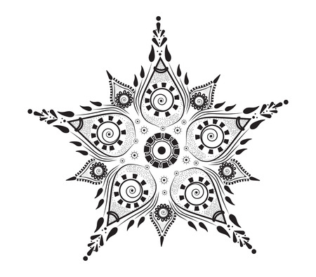 patterned flower with oriental ornaments