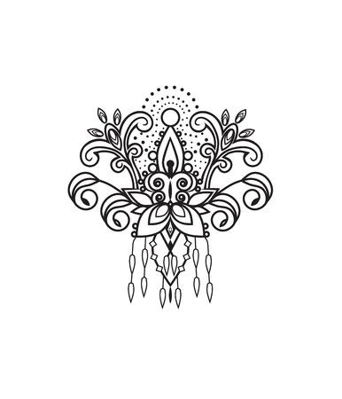 flower sketch with petals and ornament Vektorgrafik