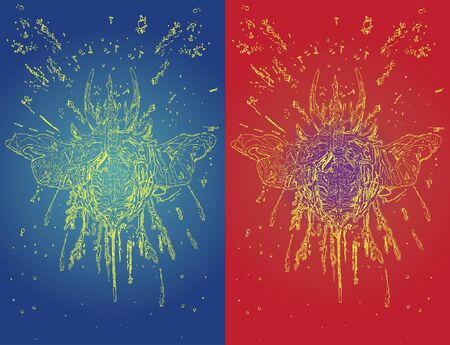 drawn sketch beetle stag with splashes on red and blue background Vettoriali
