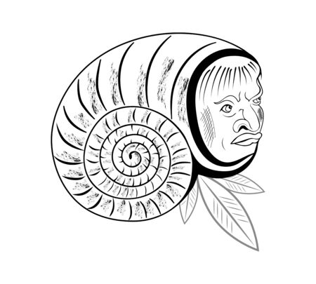 man s head peeps out in the shell of a snail