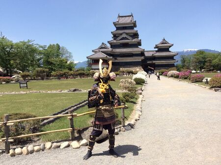 matsumoto: Ancient soldier in front of Matsumoto castle