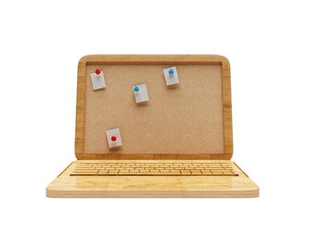 netbook: Wooden laptop netbook Stock Photo