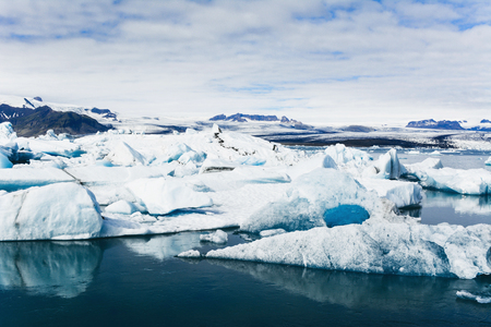 Amazing view of icebergs in glacier lagoon, Jokulsarlon, Iceland. Global warming and climate change concept.