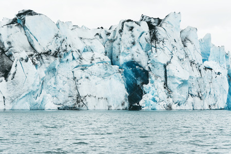 frozen lake: Amazing view of icebergs in glacier lagoon, Jokulsarlon, Iceland. Global warming and climate change concept.