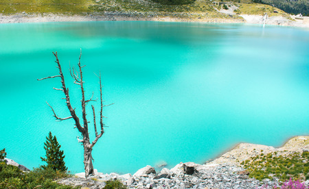 Majestic mountain lake in Switzerland. Idyllic landscape with clear mountain lake in the Alps.