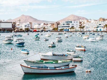 docked: A view of a picturesque harbor in Lanzarote Canary islands, Spain.