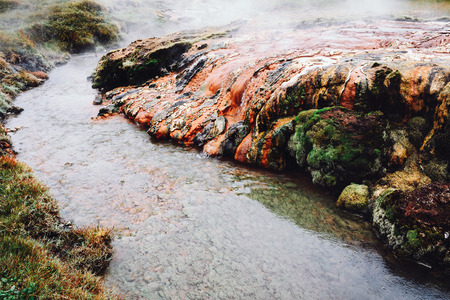 Hot river in reykjadalur valley in south Iceland.