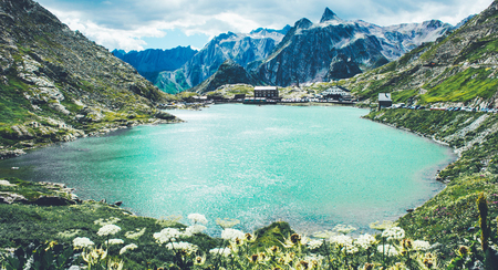 Beautiful St Bernard pass and St Bernard abbeys located in Switzerland in the canton of Valais.