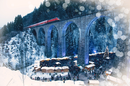 Traditional christmas market in the Ravenna gorge, Germany. Amazing winter view.
