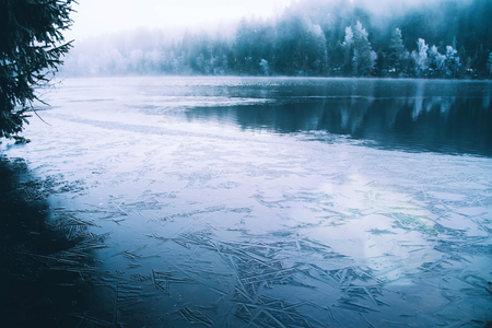A mystical lake in Germany with forest and fog hanging over the water.