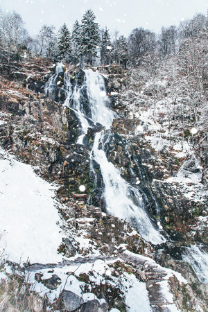 Todtnauer waterfalls at wintertime. Black forest, Germany Europe