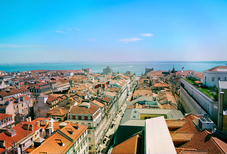 Skyline view over Rossio square, Lisbon.