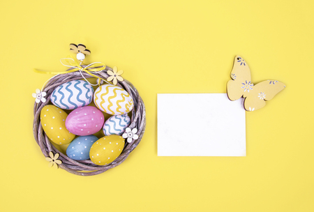 Creative easter composition with painted eggs. Kho ảnh