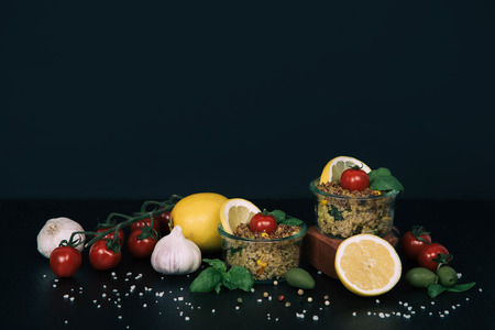 Vegan salad of vegetables, mushrooms and quinoa. Standard-Bild