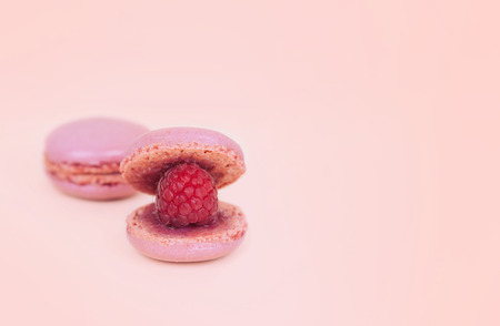 Macaroons as a shell with raspberry pearl.