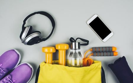 Creative flat lay of sport and fitness equipments Standard-Bild