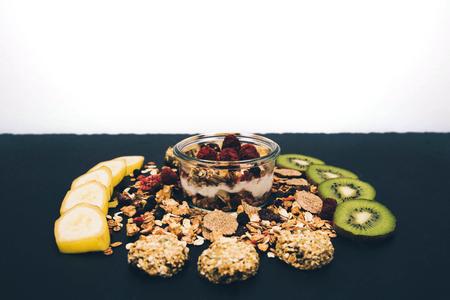 Healthy breakfast fresh granola muesli.