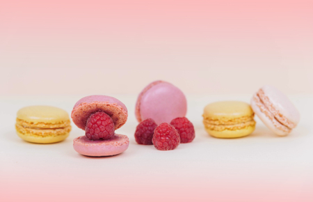 French macaroon cake macaroons as a shell with raspberry pearl.