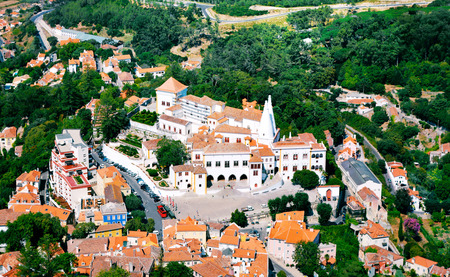 Aerial view on Sintra national palace from murish castle. Stock Photo