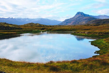 View of a lake and a mountains, Iceland.