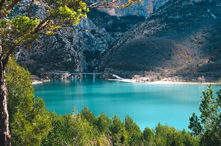 Beautiful view of St. Croix lake in Provence, France.