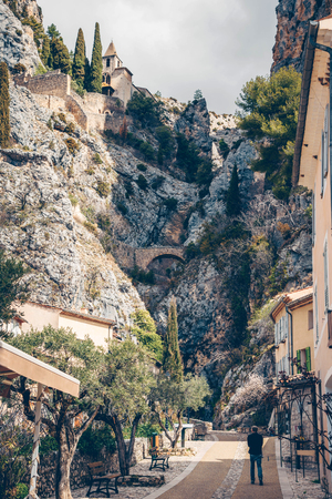 Beautiful view of village Moustiers-Sainte-Marie in France. Kho ảnh