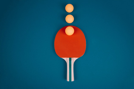 Table tennis rackets and balls. Stock Photo
