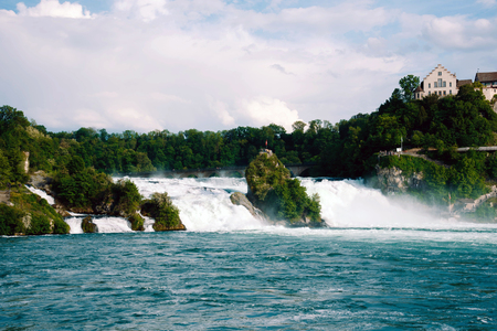 View of the european biggest waterfall Rheinfall in Switzerland. Stock Photo